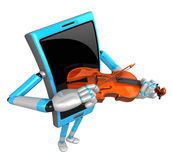 3D Smart Phone Mascot has to be playing the violin. 3D Mobile Ph Royalty Free Stock Photos