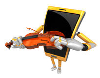 3D Smart Phone Mascot has to be playing the violin. 3D Mobile Ph Stock Image