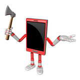 3D Smart Phone Mascot is holding an axe. 3D Mobile Phone Charact Royalty Free Stock Image