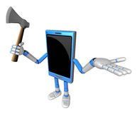3D Smart Phone Mascot is holding an axe. 3D Mobile Phone Charact Stock Photo