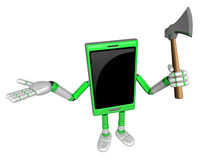 3D Smart Phone Mascot is holding an axe. 3D Mobile Phone Charact Stock Image