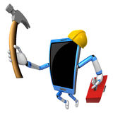 3D Smart Phone Mascot holding a with both hammer and toolbox. 3D Stock Photography