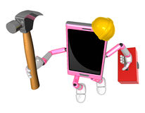 3D Smart Phone Mascot holding a with both hammer and toolbox. 3D Stock Photo