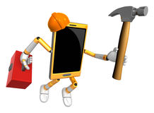 3D Smart Phone Mascot holding a with both hammer and toolbox. 3D Royalty Free Stock Photo