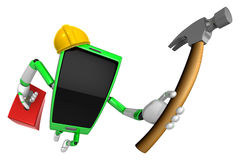 3D Smart Phone Mascot holding a with both hammer and toolbox. 3D Stock Photos