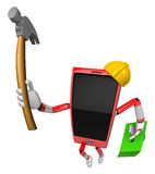 3D Smart Phone Mascot holding a with both hammer and toolbox. 3D Royalty Free Stock Photos