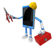3D Smart Phone Mascot holding a with both Lone Nose and toolbox. Royalty Free Stock Photo
