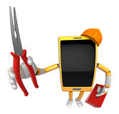 3D Smart Phone Mascot holding a with both Lone Nose and toolbox. Royalty Free Stock Images