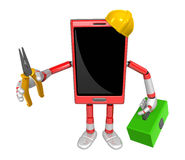 3D Smart Phone Mascot holding a with both Lone Nose and toolbox. Stock Photos