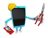 3D Smart Phone Mascot holding a with both Lone Nose and toolbox. Royalty Free Stock Photos