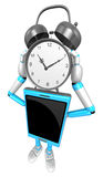 3D Smart Phone Mascot holding a clock over heads. 3D Mobile Phon Stock Photos