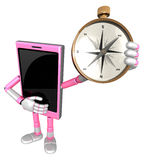 3D Smart Phone Mascot is holding a compass. 3D Mobile Phone Char Stock Photography