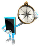 3D Smart Phone Mascot is holding a compass. 3D Mobile Phone Char Royalty Free Stock Photo