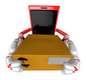 3D Smart Phone Mascot is holding a large courier box of both han Stock Photo