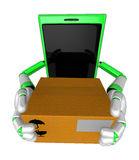 3D Smart Phone Mascot is holding a large courier box of both han Royalty Free Stock Image