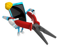 3D Smart Phone Mascot holding a Lone Nose with both hands. 3D Mo Royalty Free Stock Images
