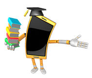 3D Smart Phone Mascot is holding a pile of books. 3D Mobile Phon Stock Photos