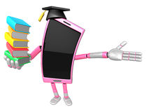 3D Smart Phone Mascot is holding a pile of books. 3D Mobile Phon Royalty Free Stock Photo