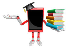 3D Smart Phone Mascot is holding a pile of books. 3D Mobile Phon Stock Photography