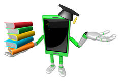 3D Smart Phone Mascot is holding a pile of books. 3D Mobile Phon Royalty Free Stock Images