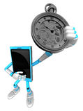 3D Smart Phone Mascot is holding a pocket watch. 3D Mobile Phone Royalty Free Stock Photo