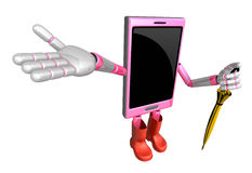 3D Smart Phone Mascot is holding an umbrella. 3D Mobile Phone Ch Royalty Free Stock Photo