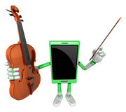 3D Smart Phone Mascot is holding a violin. 3D Mobile Phone Chara Royalty Free Stock Image