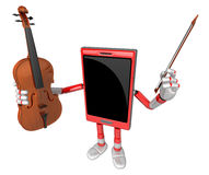 3D Smart Phone Mascot is holding a violin. 3D Mobile Phone Chara Stock Photos