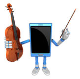 3D Smart Phone Mascot is holding a violin. 3D Mobile Phone Chara Royalty Free Stock Photography