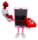 3D Smart Phone Mascot just calls me back when you have more time Stock Image