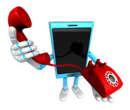 3D Smart Phone Mascot just calls me back when you have more time Royalty Free Stock Photography
