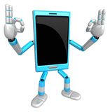 3D Smart Phone Mascot the OK gesture. 3D Mobile Phone Character Royalty Free Stock Image