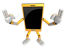 3D Smart Phone Mascot the OK gesture. 3D Mobile Phone Character Royalty Free Stock Photo
