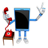 3D Smart Phone Mascot Please call me today. 3D Mobile Phone Char Royalty Free Stock Photos