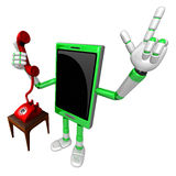 3D Smart Phone Mascot Please call me today. 3D Mobile Phone Char Royalty Free Stock Photography