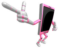 3D Smart Phone Mascot is points a finger one direction. 3D Mobil Royalty Free Stock Photography
