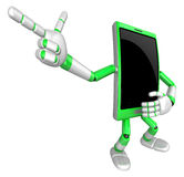 3D Smart Phone Mascot is points a finger one direction. 3D Mobil Royalty Free Stock Images