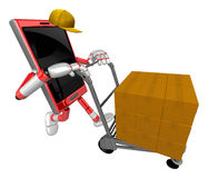 3D Smart Phone Mascot is pushing trolleys courier. 3D Mobile Pho Stock Photography