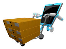 3D Smart Phone Mascot is pushing trolleys courier. 3D Mobile Pho Royalty Free Stock Photography