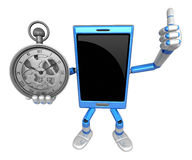 3D Smart Phone Mascot the Right hand best gesture and Left hand Stock Images
