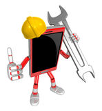 3D Smart Phone Mascot the Right hand best gesture and Left hand Royalty Free Stock Images
