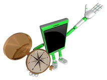 3D Smart Phone Mascot the right hand guides and the left hand is Royalty Free Stock Photo