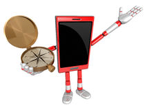 3D Smart Phone Mascot the right hand guides and the left hand is Royalty Free Stock Image