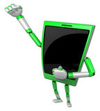 3D Smart Phone Mascot is taking a gesture of victory. 3D Mobile Royalty Free Stock Photography