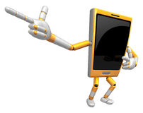 3D Smart Phone Mascot is taking gestures of Double pistols. 3D M Royalty Free Stock Images