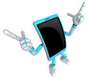3D Smart Phone Mascot is taking gestures of Double pistols. 3D M Stock Photography