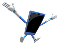 3D Smart Phone Mascot to be powerful and jumping. 3D Mobile Phon Stock Photos