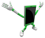 3D Smart Phone Mascot to be powerful and jumping. 3D Mobile Phon Stock Image