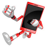 3D Smart Phone Mascot to be powerful whip kicks. 3D Mobile Phone Royalty Free Stock Photo