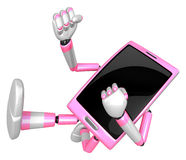 3D Smart Phone Mascot to be powerful whip kicks. 3D Mobile Phone Stock Image